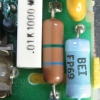 The fusible resistor usually is light brown with two color bands.
