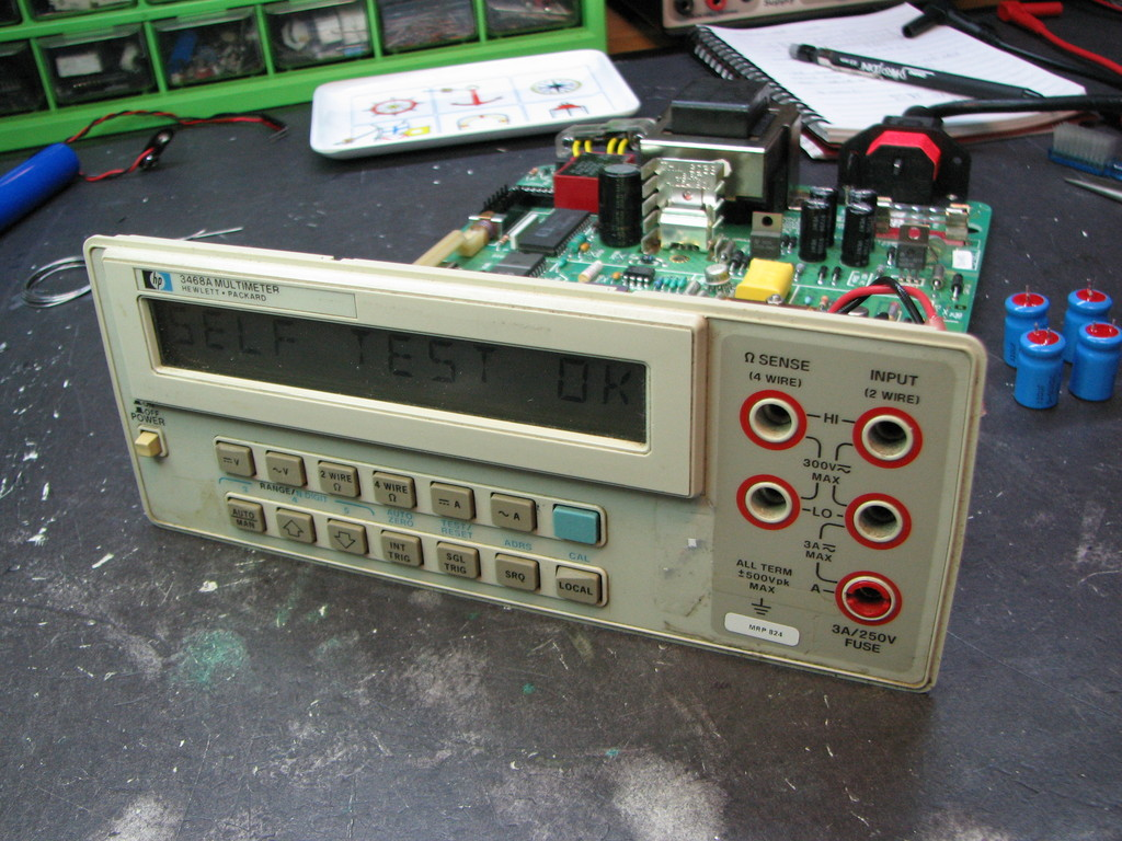 Hp 3468a Bench Multimeter Repair Mr Modemhead When The Switch Is Open Voltmeter Reads 60 V And It New Capacitors Installed Unit Boots Up Passes Self Test